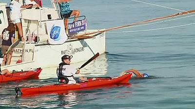 Diana Nyad becomes the first to swim Florida Straits without shark cage