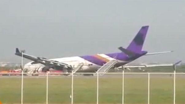Thai Airways Airbus skids off Bangkok runway, 14 injured