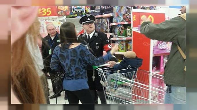 Man in full Nazi uniform upsets UK shoppers