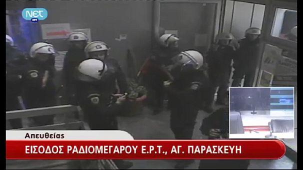 La televisión pública ERT desalojada por la policía griega