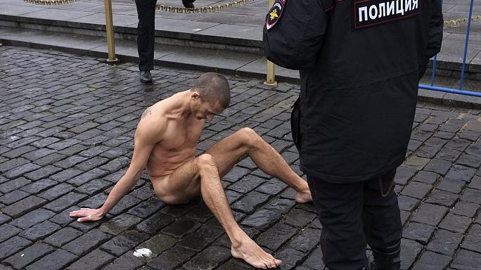 Protester nails testicles to Red Square pavement