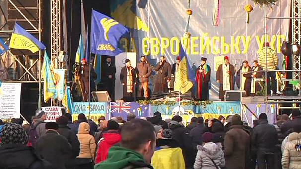Anti government protesters in Kyiv reject Ukrainian-Russian pact