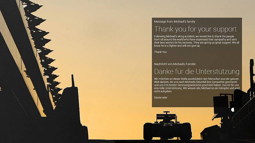 La familia de Schumacher agradece el apoyo tras el accidente