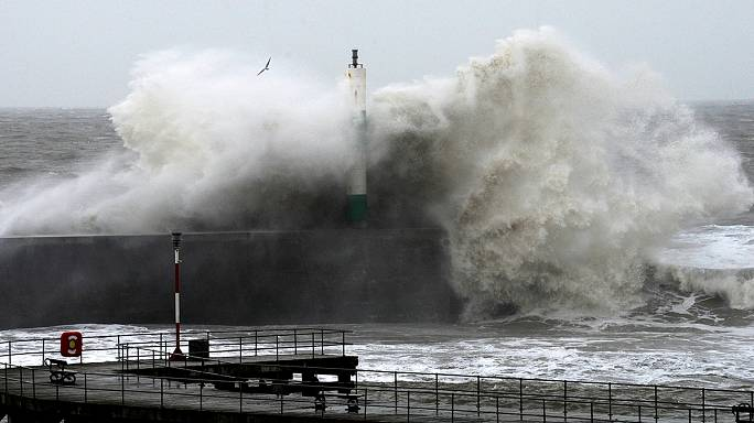 Huge waves batter Britain's coast as fresh storms hit country