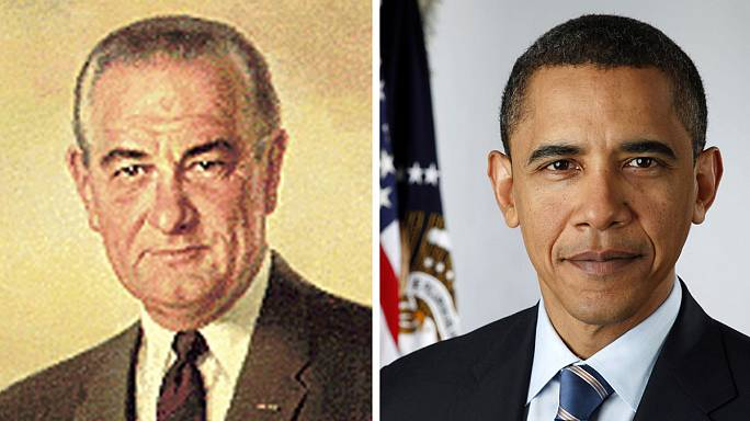 "The torch has passed: Obama takes over ""War on Poverty"" from LBJ"