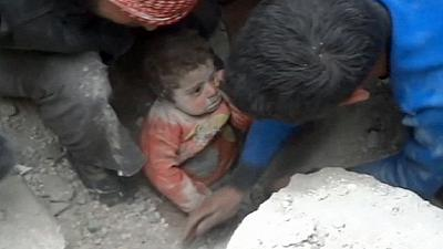 Baby recovering after Syrian air strike rescue