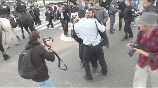 Ultra-Orthodox Jews protest in Israel conscription row