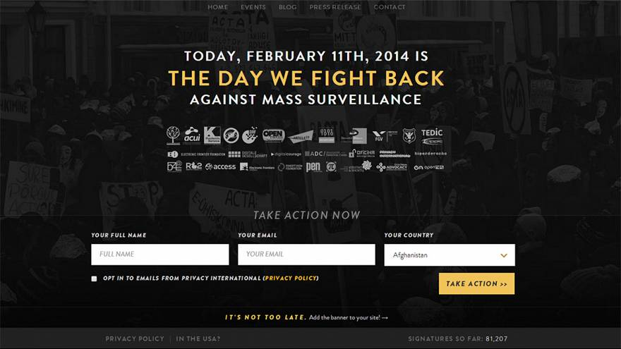 "Worldwide day of activism to ""fight back"" against mass surveillance"