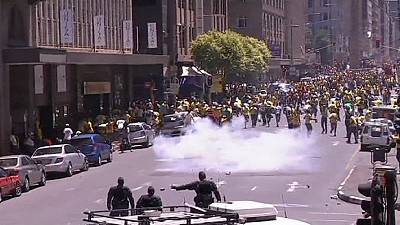 South Africa police clash with ANC supporters as election campaign begins