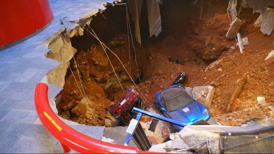 Watch: Sinkhole gobbles up 8 vintage Corvettes at Kentucky museum