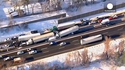 Icy roads cause massive pile-ups in US