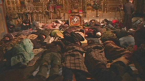 Ukraine: St Michael's Cathedral, refuge and field hospital for Kyiv protesters