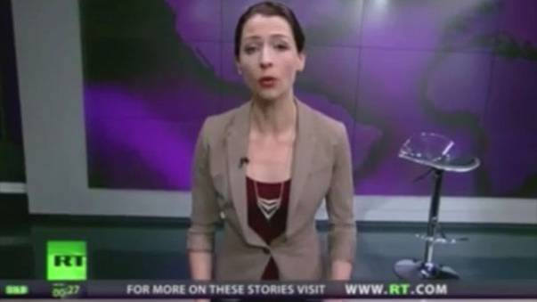 Watch: News presenter goes spectacularly off-script to hit out at Russia over Crimea