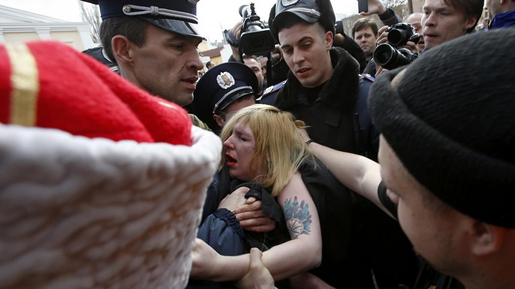 Watch: Femen protesters held after topless protest in Crimea
