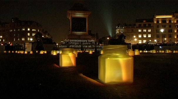 UK: Trafalgar Square vigil for Syria ahead of third anniversary