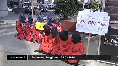 Protest against US human rights violations in Brussels – nocomment