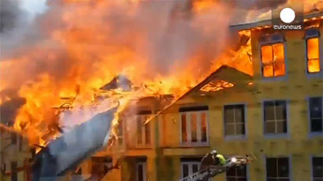 Watch: Drama as worker escapes raging inferno with just seconds to spare