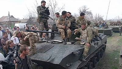 Pro-Russian activists seize Ukraine armoured vehicles