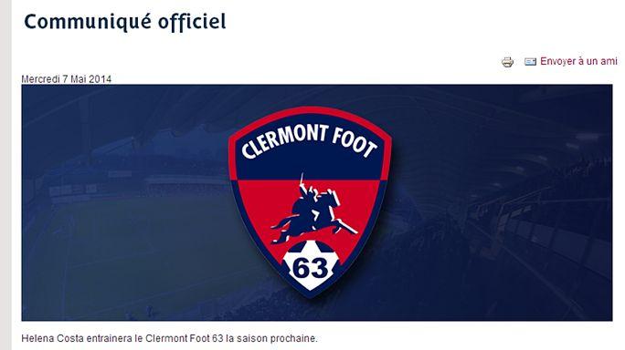 La Portugaise Helena Costa entraînera le club professionnel de Clermont Foot