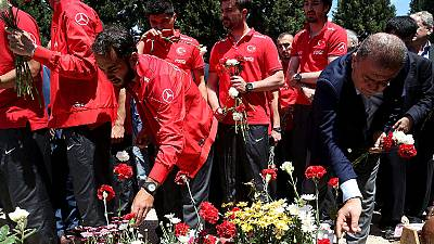 Turkish football delegation pay respects to killed miners