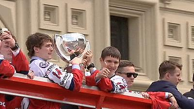 Russia celebrate World Championship title with Moscow parade