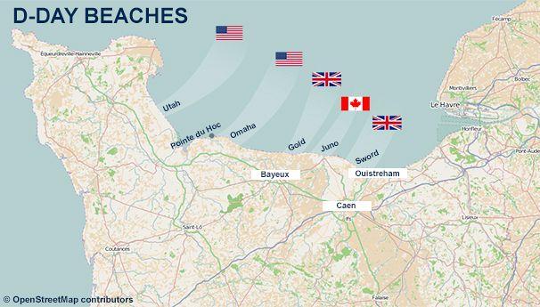 Carte des plages du Débarquement