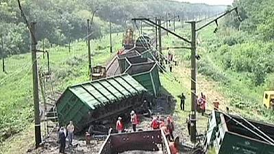 Russian freight train derailed in Ukraine – nocomment