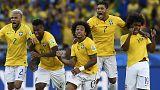 Brasil nos quartos com sorte, Colômbia com James