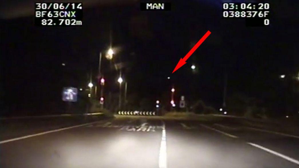 Huge fireball meteor lighting up UK skies caught on police camera
