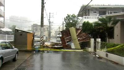 Typhoon pounds Japan's Okinawa