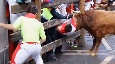 Spain: Three men gored on last day of San Fermin bull run