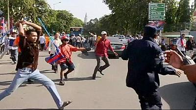 Violent clashes at a protest  in Cambodia – nocomment
