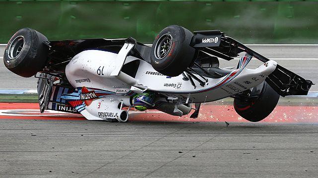 F1 Germany: Massa flips in first-corner crash