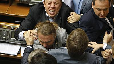Fighting breaks out in Ukrainian parliament