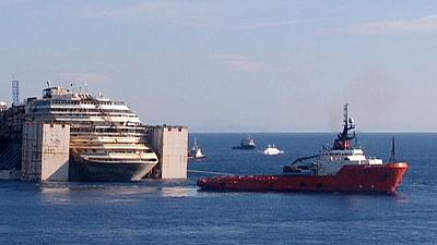 Costa Concordia on the cusp of its final journey