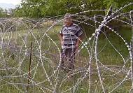 The Russian border fence that divides Georgia and South Ossetia