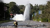 Burst water main floods Sunset Boulevard in Los Angeles