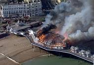 Fire and smoke engulf British pier