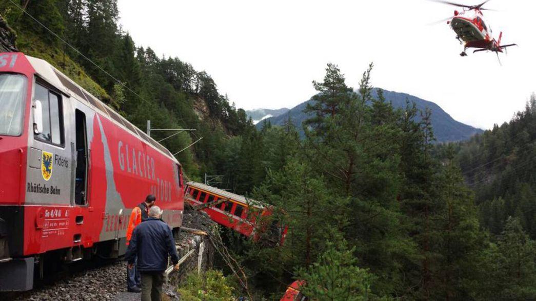إصابة 7 أشخاص على الأقل جراء انحراف قطار في سويسرا