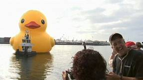 Giant rubber ducky has L.A. feeling lucky
