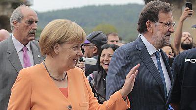 Protestos galegos contra Merkel e a austeridade em Espanha