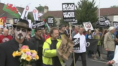 Protesters gather at NATO summit in Wales