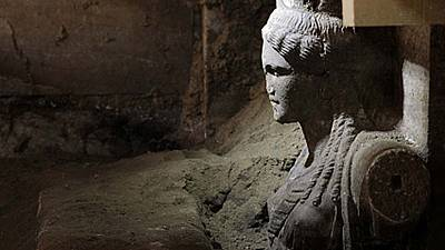 Two caryatids unearthed by archaeologists in Ancient Amphipolis