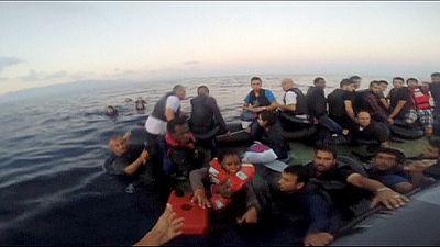Turkish coastguards rescue migrants at sea