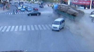 Eight dead after truck crashes into bus stop in northern China