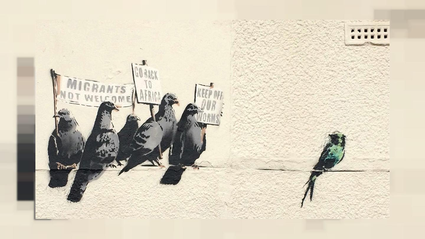 Ironic or racist? Banksy artwork on immigration causes