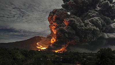Volcano erupts in Indonesia