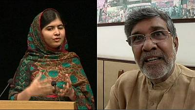 India and Pakistan celebrate Nobel prizewinners Kailash Satyarthi and Malala Yousafzai