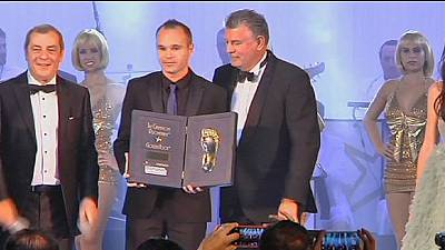Andres Iniesta gets the Golden Foot award ahead of Cristiano Ronaldo