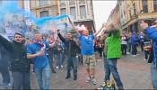 Everton fans clash with riot police in Lille